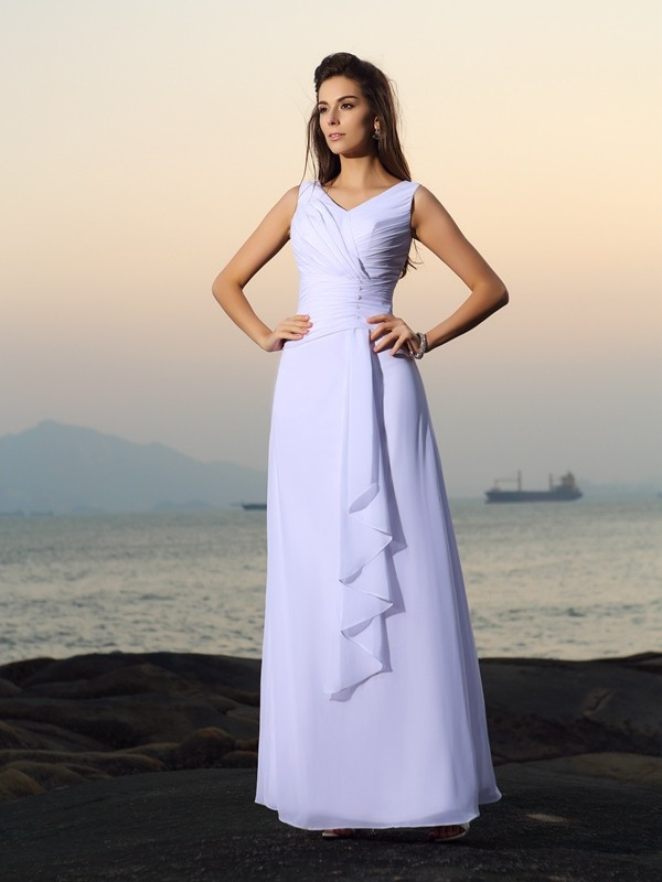 A-Line Chiffon V-neck Sleeveless Floor-Length With Beading Wedding Dresses