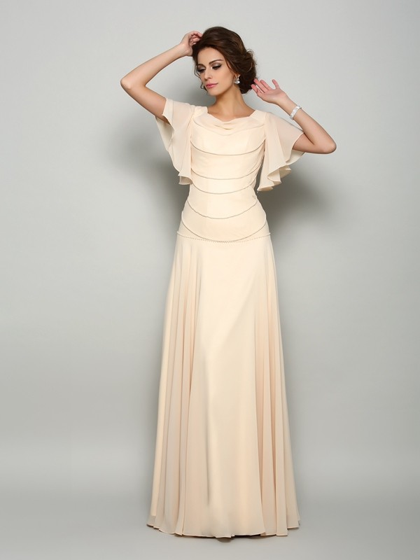 A-Line Chiffon Square Short Sleeves Floor-Length With Beading Mother of the Bride Dresses