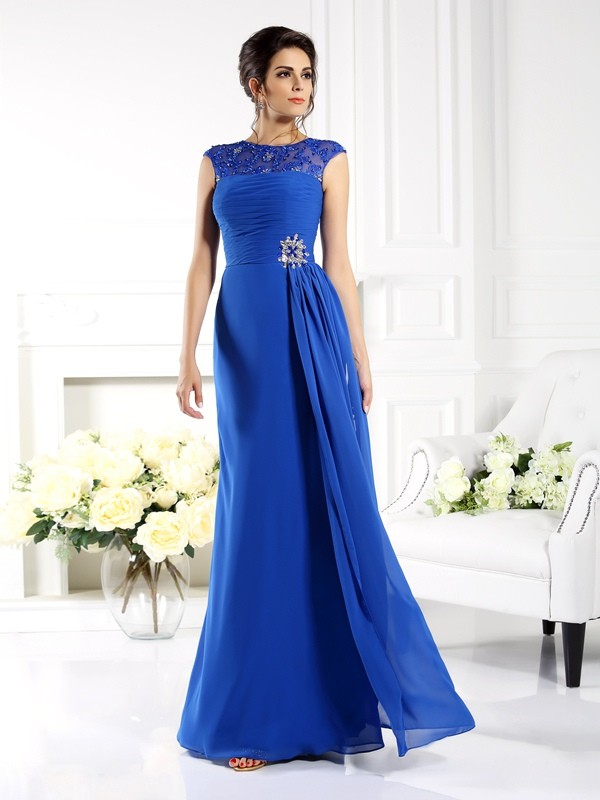 A-Line Chiffon Bateau Sleeveless Floor-Length With Applique Mother of the Bride Dresses