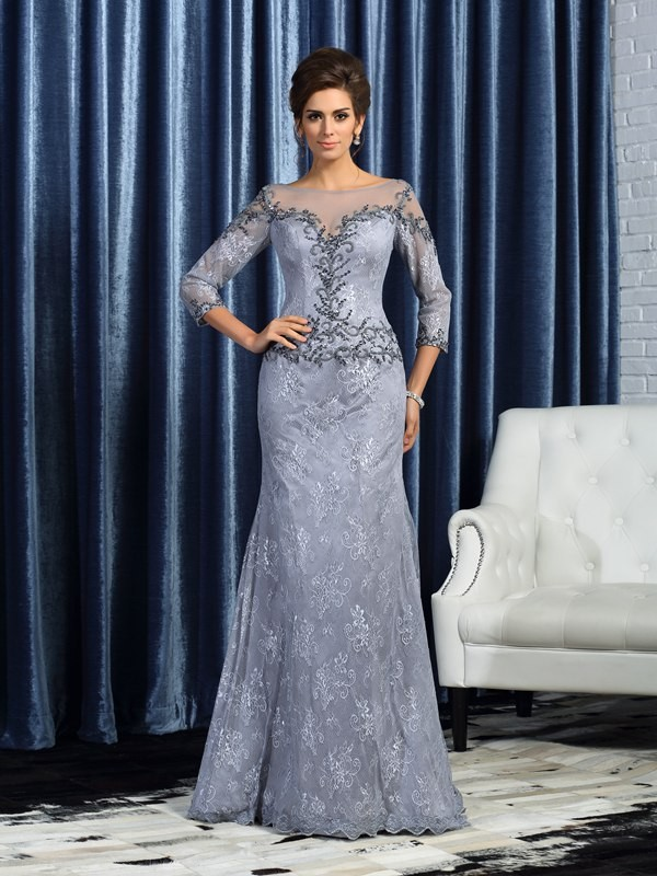 Mermaid Lace Bateau 3/4 Sleeves Floor-Length With Beading Mother of the Bride Dresses
