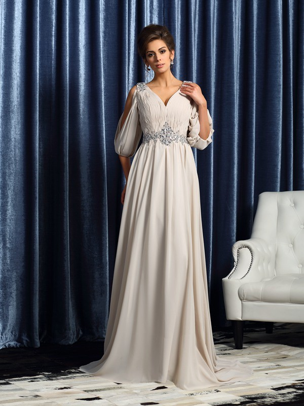 A-Line Chiffon V-neck 1/2 Sleeves Court Train With Beading Mother of the Bride Dresses