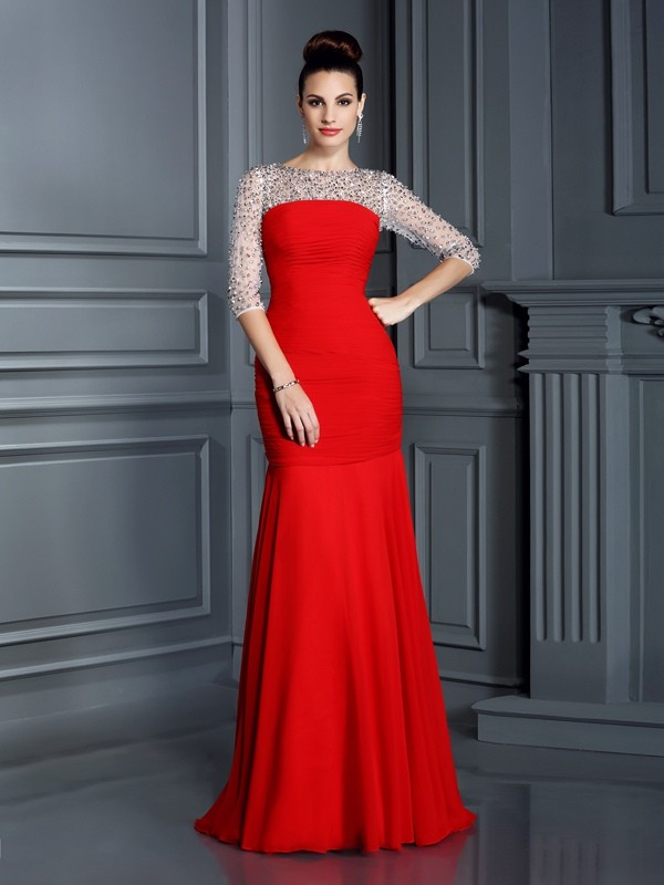 Mermaid Chiffon Scoop 3/4 Sleeves Floor-Length With Beading Dresses