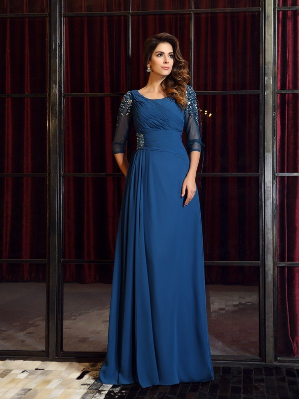 A-Line Chiffon Square 1/2 Sleeves Floor-Length With Ruched Dresses