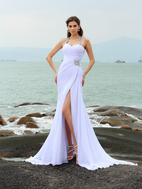 Sheath Chiffon Straps Sleeveless Chapel Train With Beading Wedding Dresses
