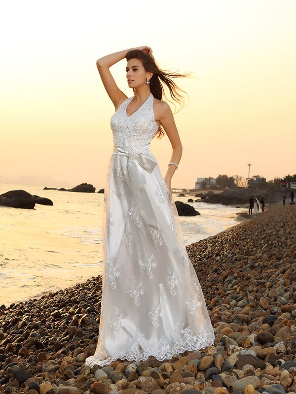 A-Line Lace Halter Sleeveless Chapel Train With Sash/Ribbon/Belt Wedding Dresses