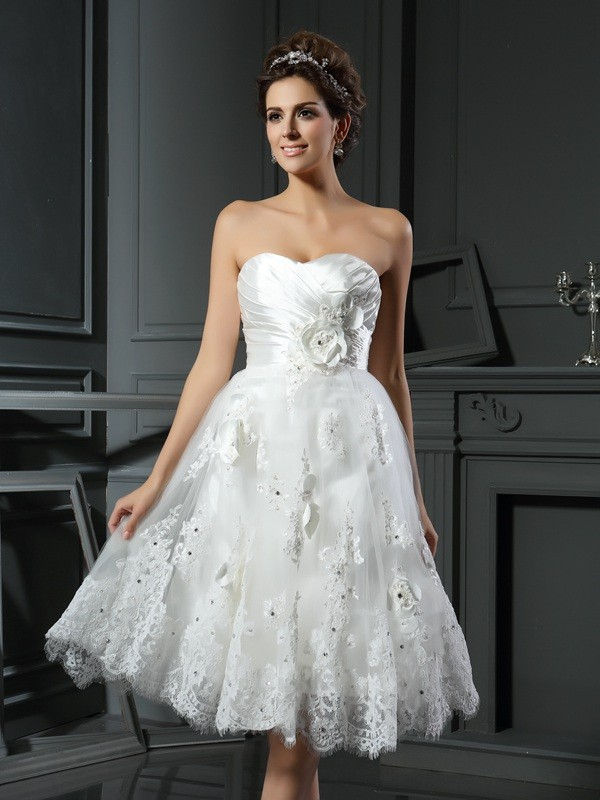 A-Line Satin Sweetheart Sleeveless Short/Mini With Ruched Wedding Dresses