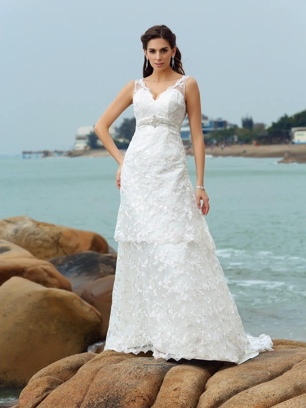 A-Line Satin Straps Sleeveless Chapel Train With Applique Wedding Dresses