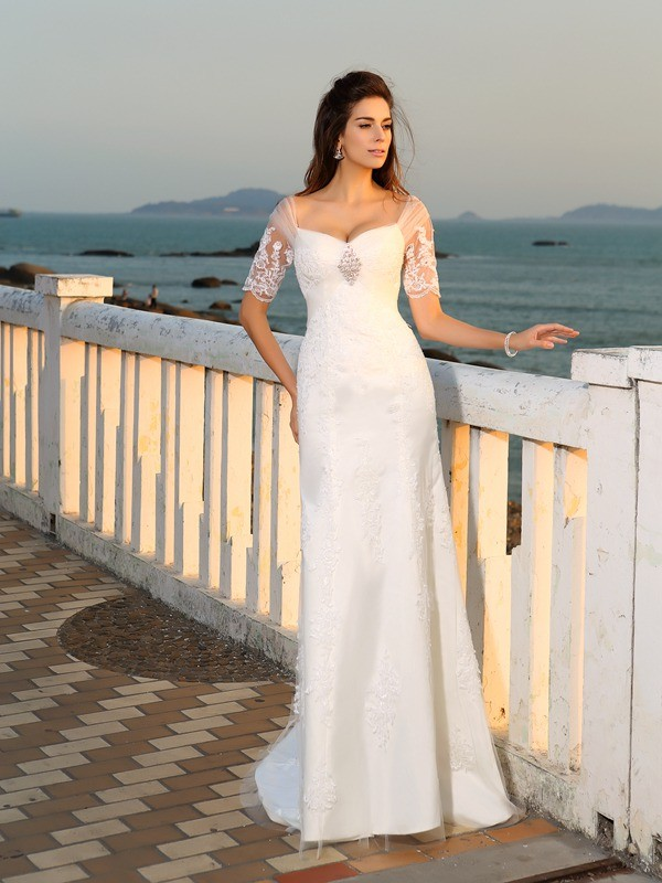Sheath Satin Sweetheart Short Sleeves Floor-Length With Applique Wedding Dresses