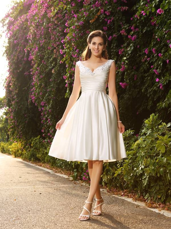 A-Line Satin V-neck Sleeveless Knee-Length With Beading Wedding Dresses