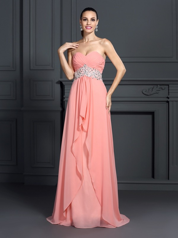 A-Line Chiffon Sweetheart Sleeveless Floor-Length With Ruffles Dresses