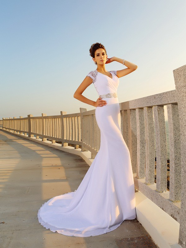 Sheath Chiffon V-neck Sleeveless Court Train With Beading Wedding Dresses
