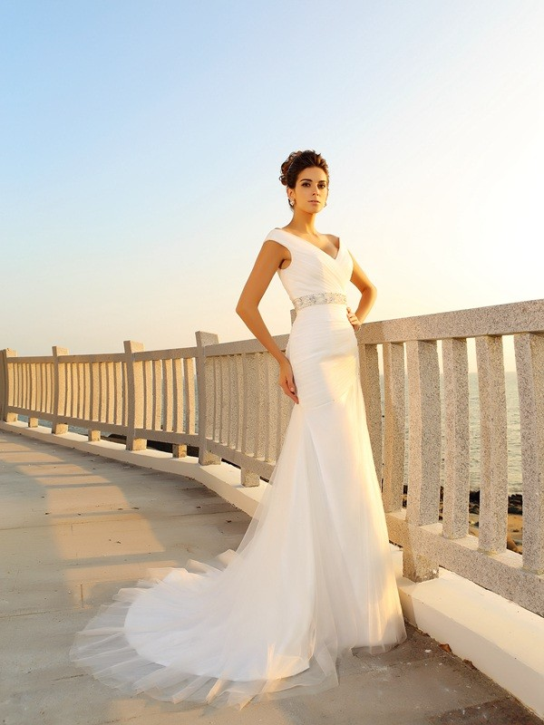 Sheath Net V-neck Sleeveless Court Train With Pleats Wedding Dresses