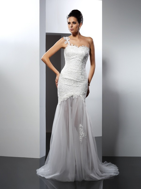 Mermaid Lace One-Shoulder Sleeveless Chapel Train With Lace Wedding Dresses