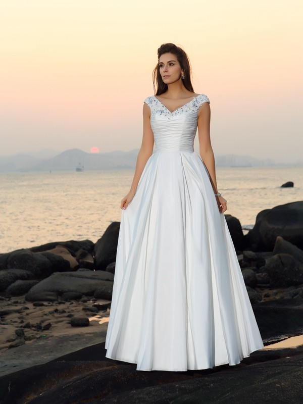 A-Line Taffeta V-neck Sleeveless Floor-Length With Beading Wedding Dresses