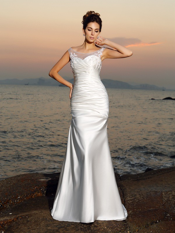 Mermaid Satin Scoop Sleeveless Sweep/Brush Train With Beading Wedding Dresses