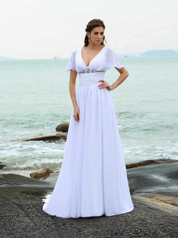 A-Line Chiffon V-neck Short Sleeves Sweep/Brush Train With Ruffles Wedding Dresses