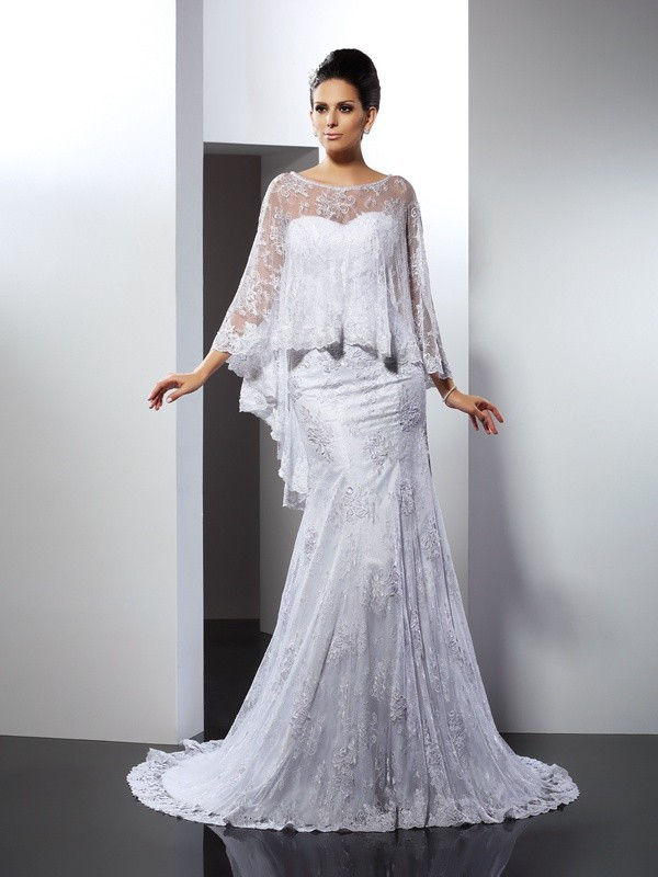 Mermaid Lace Sweetheart Sleeveless Court Train With Applique Wedding Dresses