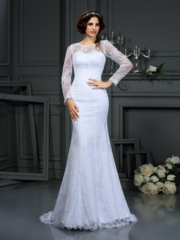 Sheath Satin Scoop Long Sleeves Court Train With Lace Wedding Dresses