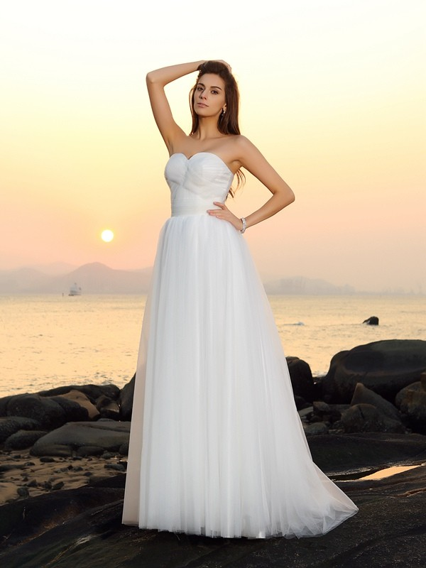 A-Line Net Sweetheart Sleeveless Sweep/Brush Train With Ruched Wedding Dresses