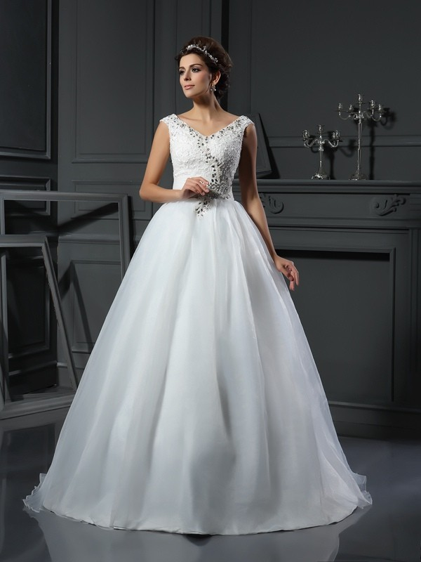 A-Line Organza V-neck Sleeveless Chapel Train With Beading Wedding Dresses