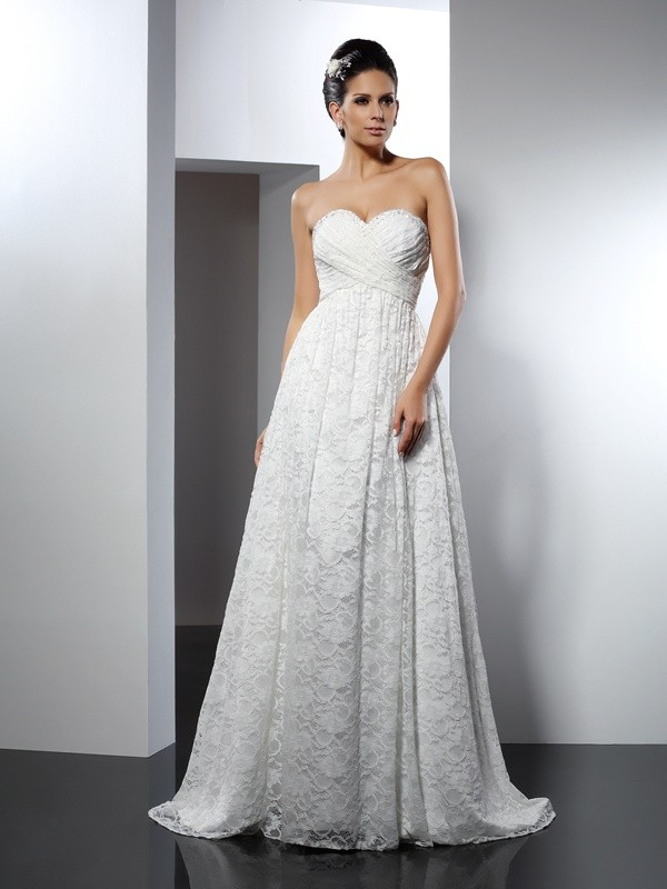 A-Line Satin Sweetheart Sleeveless Sweep/Brush Train With Ruched Wedding Dresses