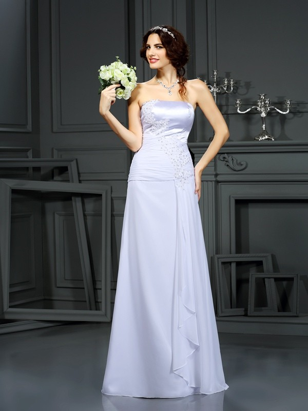 Sheath Chiffon Strapless Sleeveless Sweep/Brush Train With Beading Wedding Dresses