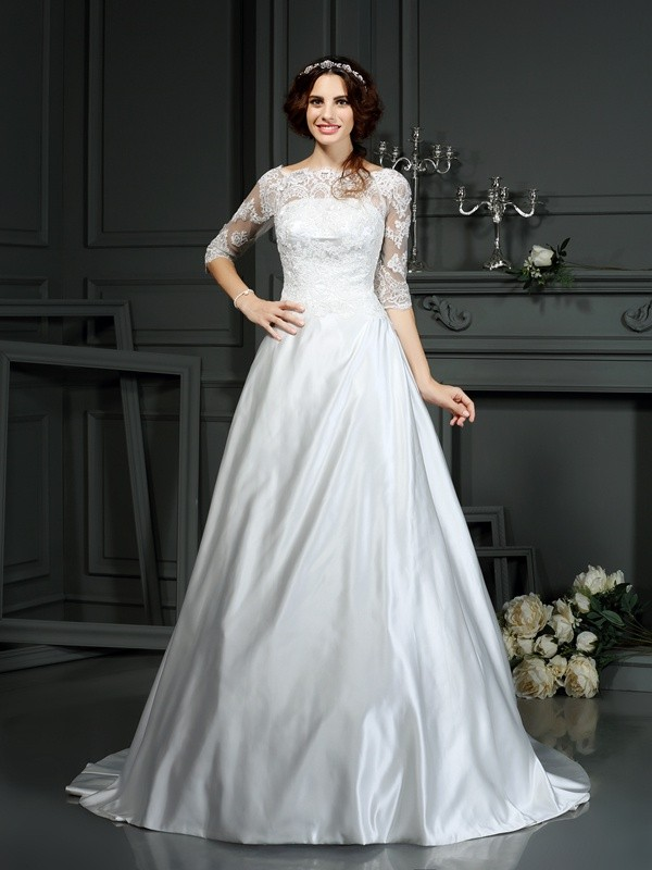 A-Line Satin Bateau 1/2 Sleeves Court Train With Lace Wedding Dresses