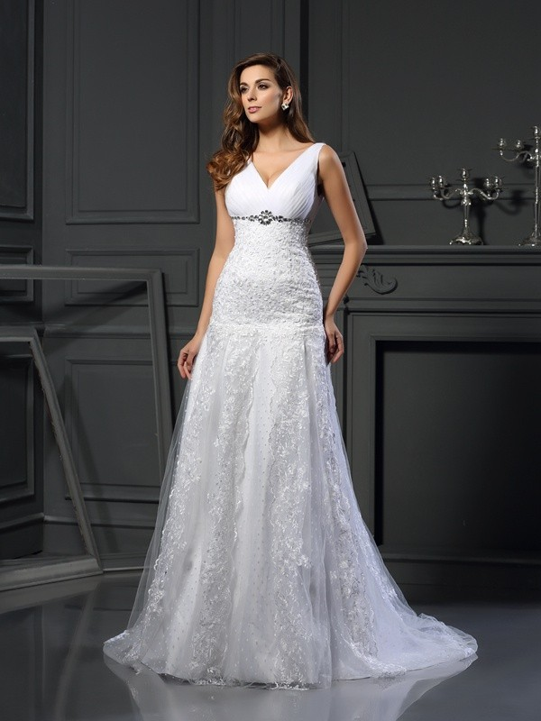 A-Line Satin V-neck Sleeveless Chapel Train With Beading Wedding Dresses