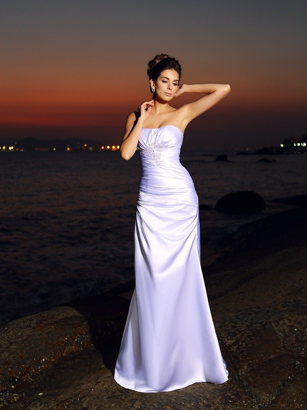Mermaid Satin Sweetheart Sleeveless Chapel Train With Ruched Wedding Dresses