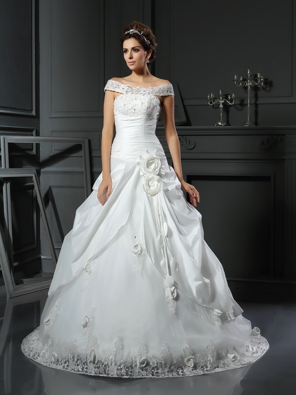 Ball Gown Satin Off-the-Shoulder Sleeveless Chapel Train With Hand-Made Flower Wedding Dresses