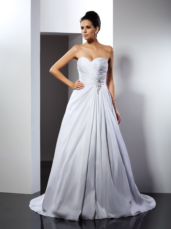 A-Line Satin Sweetheart Sleeveless Cathedral Train With Ruffles Wedding Dresses