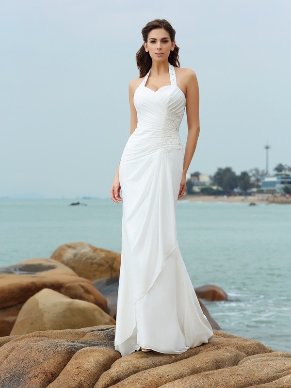 Sheath Chiffon Halter Sleeveless Court Train With Pleats Wedding Dresses