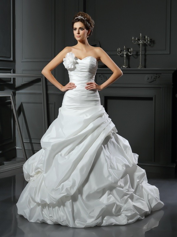 Ball Gown Satin Sweetheart Sleeveless Cathedral Train With Hand-Made Flower Wedding Dresses