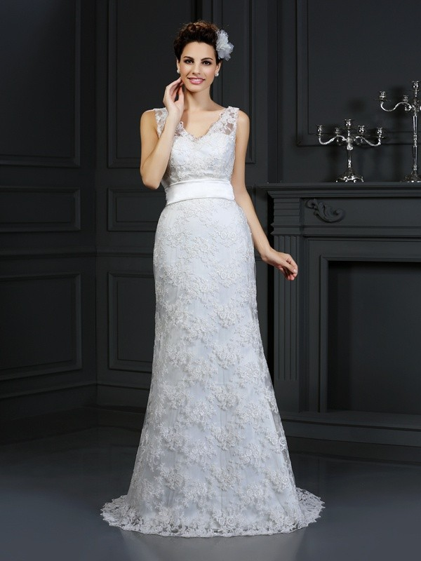 Mermaid Lace Sweetheart Sleeveless Chapel Train With Applique Wedding Dresses