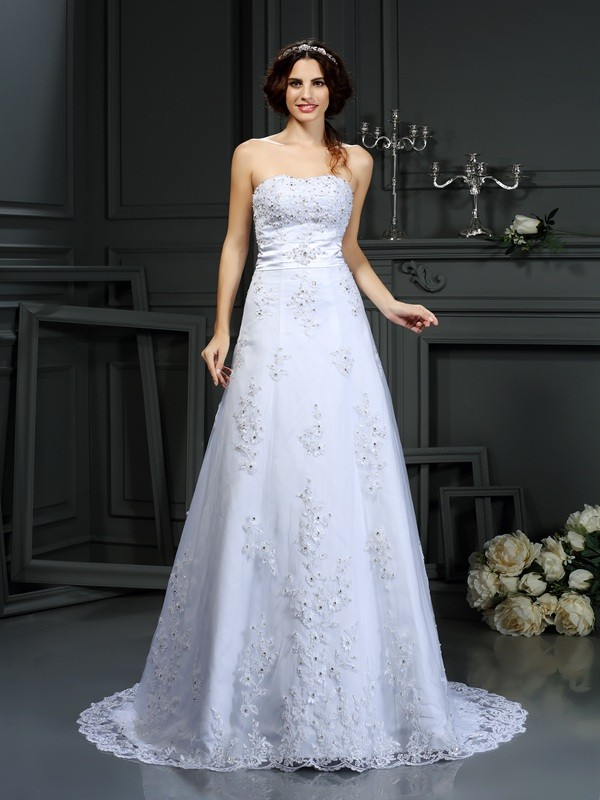 A-Line Satin Strapless Sleeveless Court Train With Applique Wedding Dresses