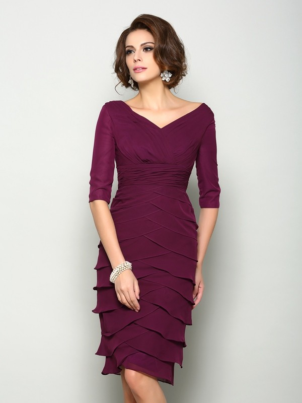 Sheath Chiffon V-neck 1/2 Sleeves Knee-Length With Layers Mother of the Bride Dresses