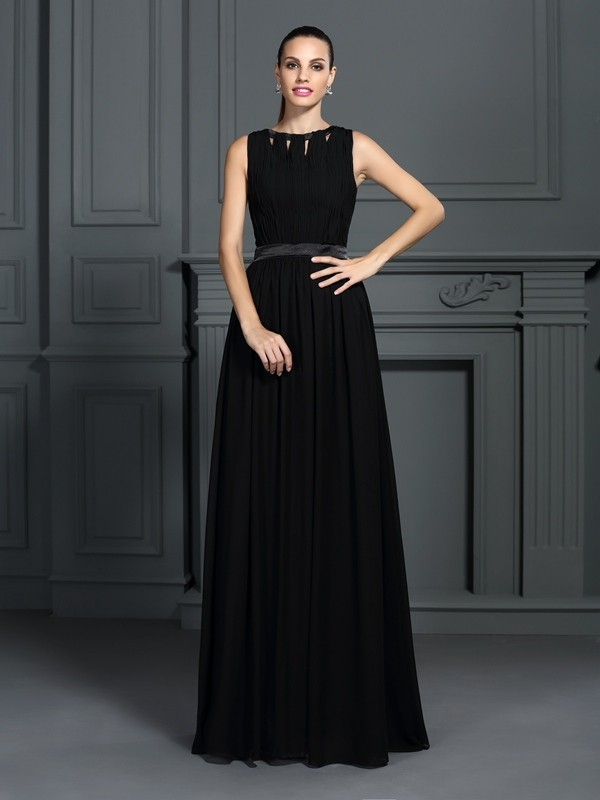 A-Line Chiffon Scoop Sleeveless Floor-Length With Pleats Dresses