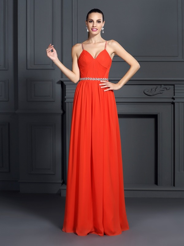 A-Line Chiffon Spaghetti Straps Sleeveless Floor-Length With Beading Dresses