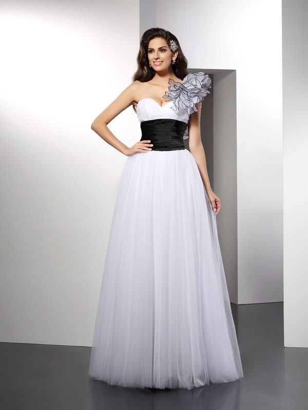 A-Line Net One-Shoulder Sleeveless Floor-Length With Sash/Ribbon/Belt Dresses