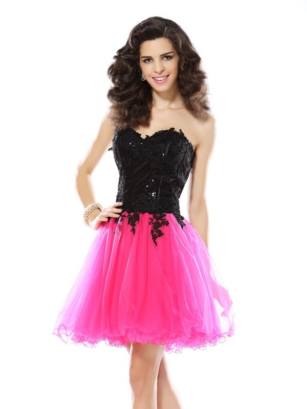 A-Line Net Sweetheart Sleeveless Short/Mini With Lace Dresses