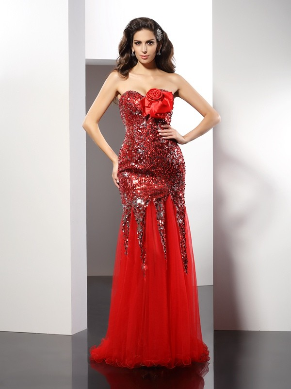 Sheath Elastic Woven Satin Sweetheart Sleeveless Floor-Length With Sequin Dresses