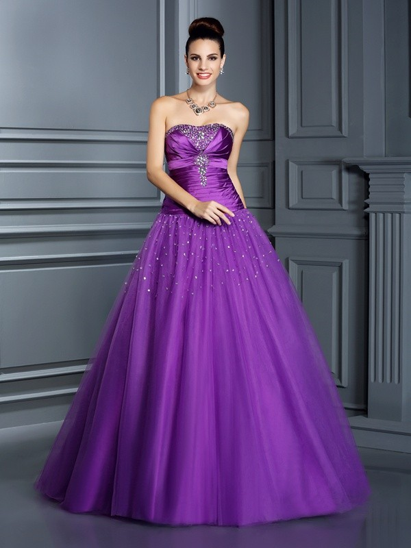 Ball Gown Taffeta Strapless Sleeveless Floor-Length With Ruched Quinceanera Dresses
