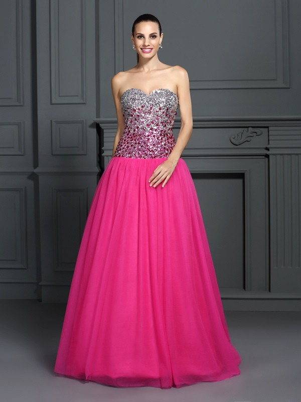 Ball Gown Organza Sweetheart Sleeveless Floor-Length With Rhinestone Quinceanera Dresses