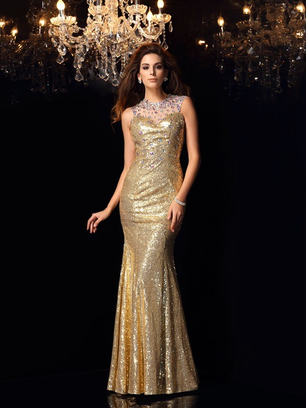 Mermaid Sequins High Neck Sleeveless Floor-Length With Beading Dresses
