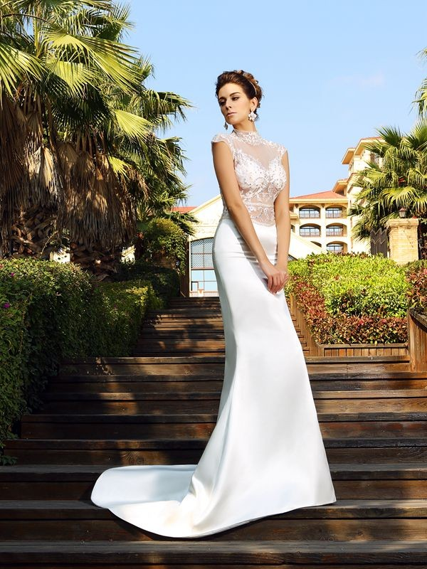 Mermaid Satin High Neck Sleeveless Court Train With Beading Dresses
