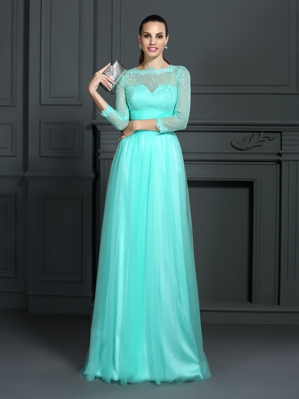 A-Line Elastic Woven Satin Bateau 3/4 Sleeves Sweep/Brush Train With Lace Dresses