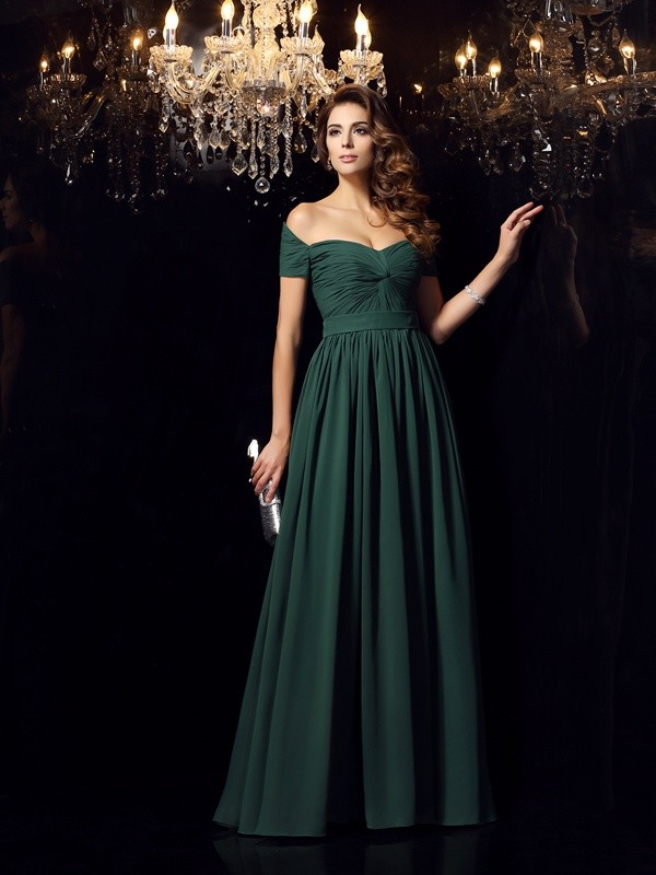 A-Line Chiffon Off-the-Shoulder Sleeveless Floor-Length With Ruched Dresses