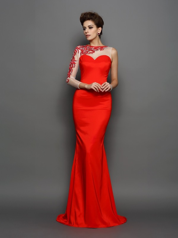 Mermaid Elastic Woven Satin High Neck Long Sleeves Court Train With Embroidery Dresses