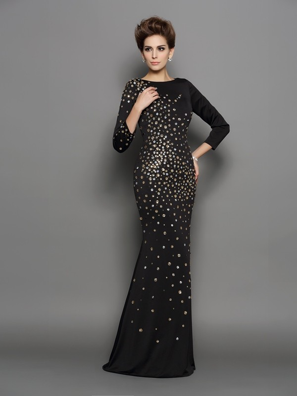 Mermaid Spandex Scoop Long Sleeves Floor-Length With Rhinestone Dresses