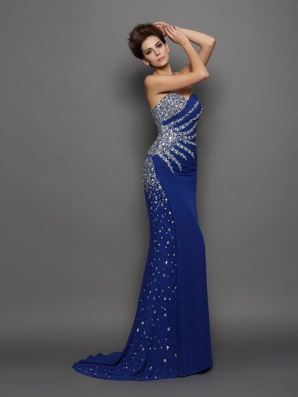 Mermaid Chiffon Sweetheart Sleeveless Court Train With Rhinestone Dresses